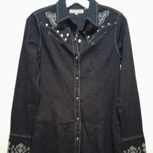 Stetson long sleeve button up shirt with designs